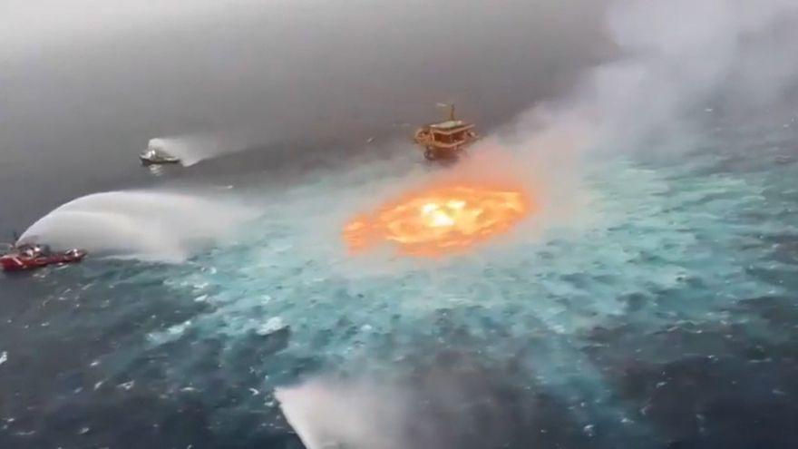 Una fuga en un gasoducto submarino provoca un incendio en las aguas del Golfo de México